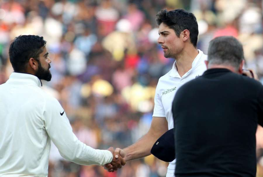 Chennai: Indian captain Virat Kohli shake hands with English captain Alastair Cook after winning the fifth cricket match between India and England at M A Chidambaram Stadium in Chennai, on Dec 20, 2016. (Photo: Surjeet Yadav/IANS)