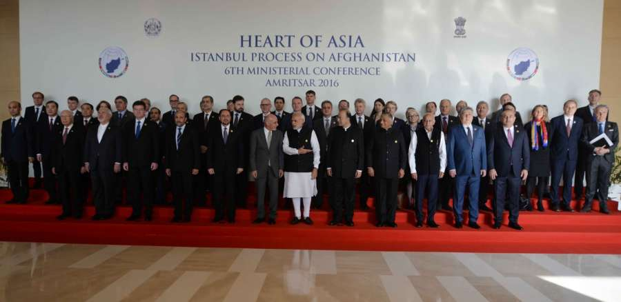 Amritsar: Prime Minister Narendra Modi and President of Afghanistan, Dr. Mohammad Ashraf Ghani with Union Ministers Arun Jaitley Gen (Retd.) V K Singh and MJ Akbar at the inaugural session of the Heart of Asia Ministerial Conference, in Amritsar on Dec 4, 2016. (Photo: IANS)
