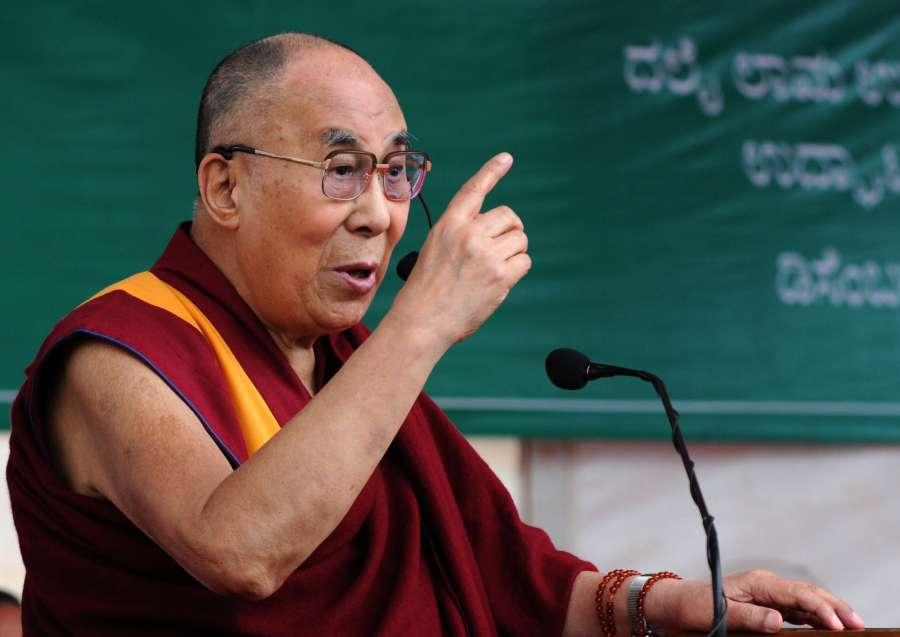 Bengaluru: Tibetan spiritual leader the Dalai Lama addresses during the inauguration of the Dalai Lama Institute for Higher Education in Bengaluru on Dec 14, 2016. (Photo: IANS)