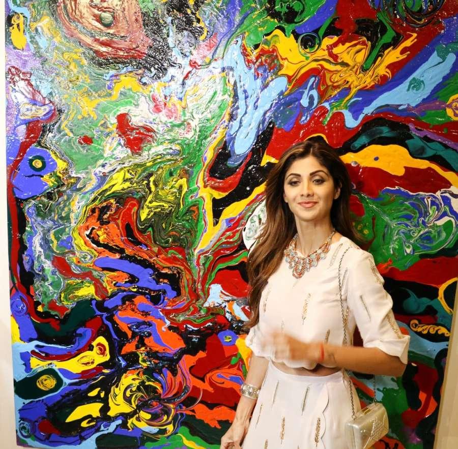 Mumbai: Actress Shilpa Shetty during the inauguration of Anu Malhotra`s debut art show Flow Dreams, in Mumbai on Oct 5, 2016. (Photo: IANS)