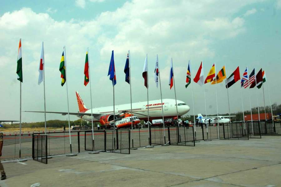 Hyderabad: An Air India aircraft at Begumpet Airport during inauguration of the fifth edition of India Aviation 2016 in Hyderabad, on March 16, 2016. (Photo: IANS)
