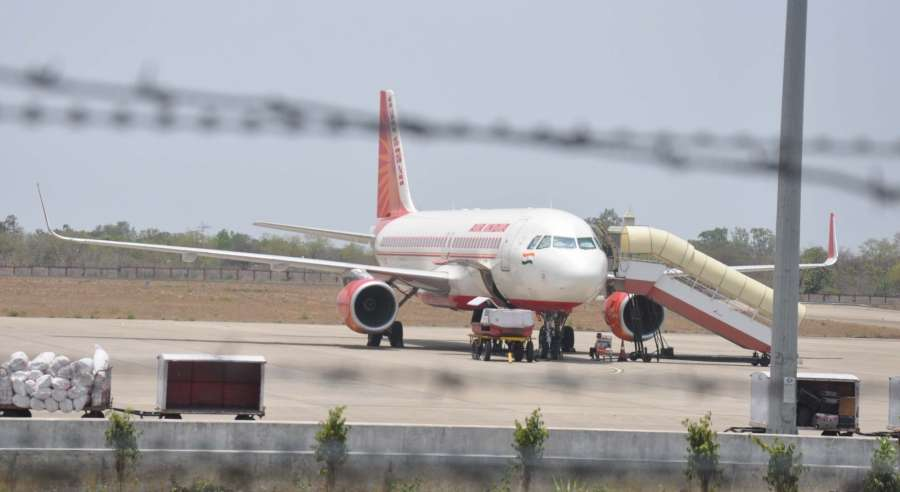Bhopal: The Kochi bound Air India aircraft that made emergency landing at Bhopal airport due a technical problem on May 10, 2016. (Photo: IANS)