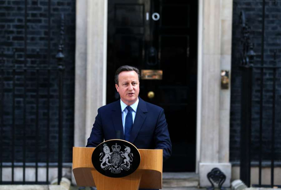 LONDON, June 24, 2016 (Xinhua) -- British Prime Minister David Cameron delivers a speech at 10 Downing Street in London, June 24, 2016. Britain Prime Minister David Cameron on Friday morning announced his intention to resign after his country has voted to leave the European Union. (Xinhua/Han Yan/IANS)