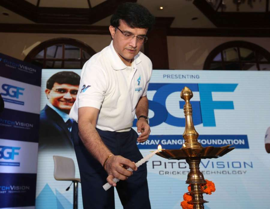 Kolkata: CAB President Sourav Ganguly during the launch of Sourav Ganguly Foundation and Cricket School in Kolkata on Dec 14, 2016. (Photo: IANS)