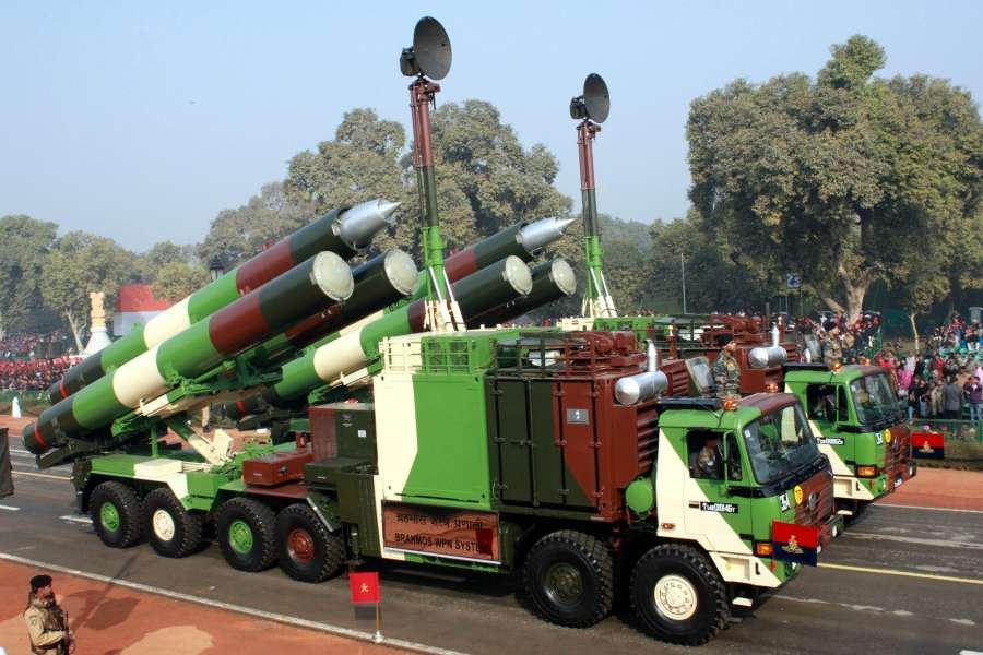 New Delhi: Indian Army missile carrier trucks during full dress rehearsal for Indian Republic Day parade at Rajpath in New Delhi on Jan 23, 2016. (Photo: Amlan Paliwal/IANS)