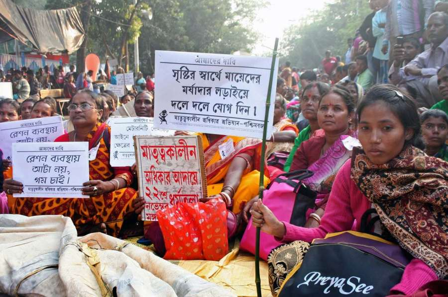 Kolkata: Women participate in a protest march against West Bengal Government to demand for maternity facility in Kolkata on Nov 22, 2016. (Photo: Kuntal Chakrabarty/IANS)