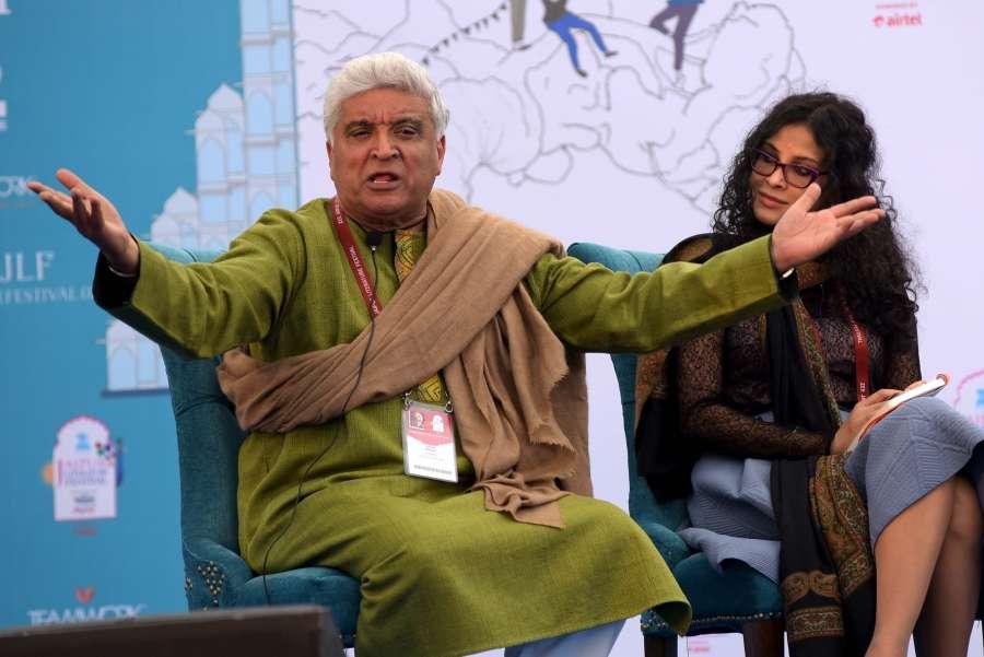 Jaipur: Lyricist Javed Akhtar and actress Nandana Sen during a session at the Jaipur Literature Festival in Jaipur on Jan 23, 2016. (Photo: Ravi Shankar Vyas/IANS)
