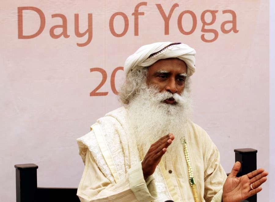 Chennai: Sadhguru Jaggi Vasudev during a yoga camp in Chennai on June 5, 2016. (Photo: IANS)