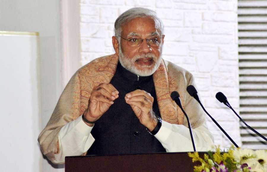 Varanasi: Prime Minister Narendra Modi addresses at the Banaras Hindu University, in Varanasi, Uttar Pradesh on Dec 22, 2016. (Photo: IANS)