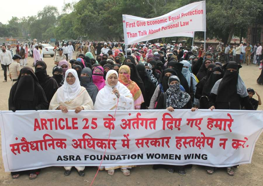 Nagpur: Muslim women stage a demonstration against uniform civil code in Nagpur on Oct 29, 2016. (Photo: IANS)