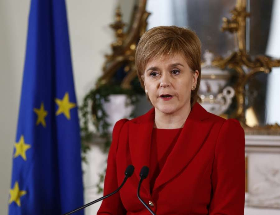 "EDINBURGH, June 24, 2016 (Xinhua) -- Scottish First Minister Nicola Sturgeon speaks at a press conference in Edinburgh, Scotland, Britain, June 24, 2016. Scottish First Minister Nicola Sturgeon said here Friday a second independence referendum was ""highly likely"" after Britain voted to leave the EU. (Xinhua/Scottish government/IANS)"