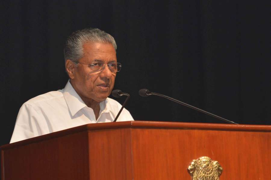 New Delhi: Kerala Chief Minister Pinarayi Vijayan addresses during the cultural programme 'Kairali' - a special Onam programme in association with the Government of Kerala at auditorium Rashtrapati Bhavan in New Delhi on Sept 3, 2016. (Photo: IANS/RB)