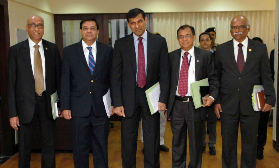 Mumbai: Reserve Bank of India (RBI) Governor Raghuram Rajan during a press conference in Mumbai, on April 5, 2016. Also seen RBI Deputy Governors H R Khan and R Gandhi. (Photo: IANS)