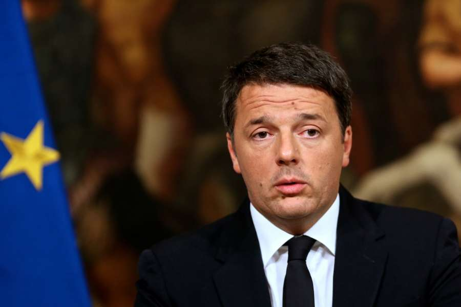 ROME, Dec. 5, 2016 (Xinhua) -- Italian Prime Minister Matteo Renzi speaks during a press conference in Rome Dec. 5, 2016. Matteo Renzi on early Monday announced resignation, as exit polls showed the Sunday referendum opposed constitutional reforms. (Xinhua/Jin Yu/IANS)