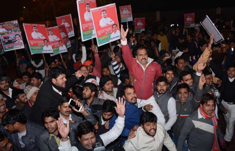 Lucknow: Samajwadi Party workers stage a demonstration in support of Uttar Pradesh Chief Minister Akhilesh Yadav in Lucknow on Dec 30, 2016. Mulayam Singh Yadav expelled his son and Uttar Pradesh Chief Minister Akhilesh Yadav for six years for indulging in anti-party activities. (Photo: IANS)