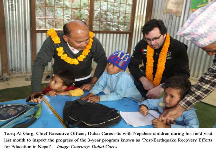 Tariq Al Gurg,CEO,Dubai Cares sits with Nepalese children during his visit to inspect the progress of 'Post-earthquake recovery efforts for education in Nepal' program (Photo:Dubai Cares)
