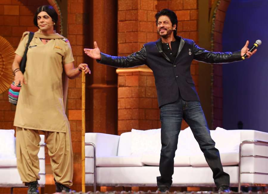 """Actor and stand-up comedian Sunil Grover and actor Shah Rukh Khan during """"The Kapil Sharma Show""""."""