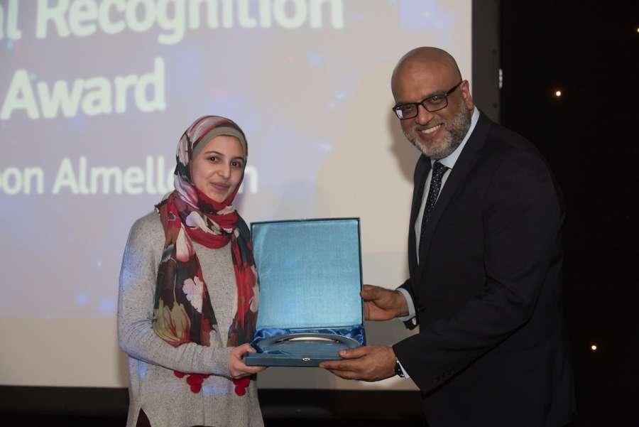 Muzoon Almellahan receiving Special recognition award