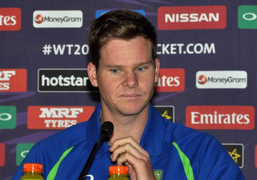 Kolkata: Australian T20 captain Steve Smith during a press conference in Kolkata on March 12, 2016. (Photo: Kuntal Chakrabarty/IANS)