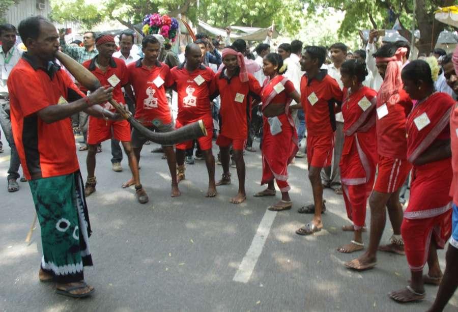 New Delhi: Tribals participate in a protest march at Jantar Mantar in New Delhi, on Sept 13, 2016. (Photo: IANS)
