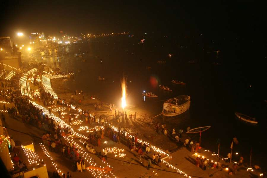 Varanasi: People celebrate Dev Deepawali on Kartik Poornima in Varanasi on Nov 14, 2016. (Photo: IANS)