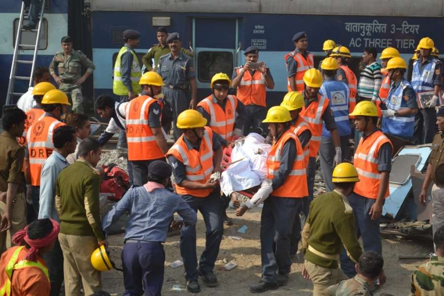 Pukhraya: Rescue operation underway as Indore-Patna Express train derailed near Pukhrayastation, about 60 km from Kanpur on Nov 20, 2016. At least 96 people were killed and more than 150 injured when 14 coaches of the Indore-Patna Express derailed near the city of Kanpur. (Photo: IANS)