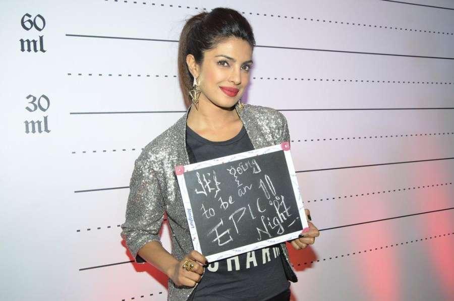 Actor Priyanka Chopra after launching her brother Siddharth Chopra's pub-lounge entitled Mugshot Lounge, in Pune on Sept 7, 2014. (Photo: IANS)