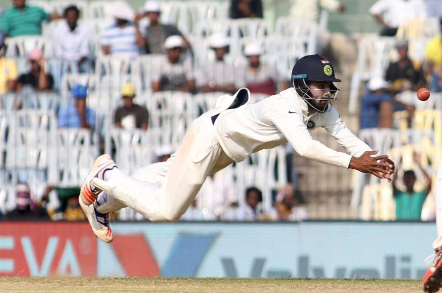 Chennai: KL Rahul of India leaps for a catch on Day 5 of the fifth test match between India and England at M A Chidambaram Stadium in Chennai, on Dec 20, 2016. (Photo: Surjeet Yadav/IANS)