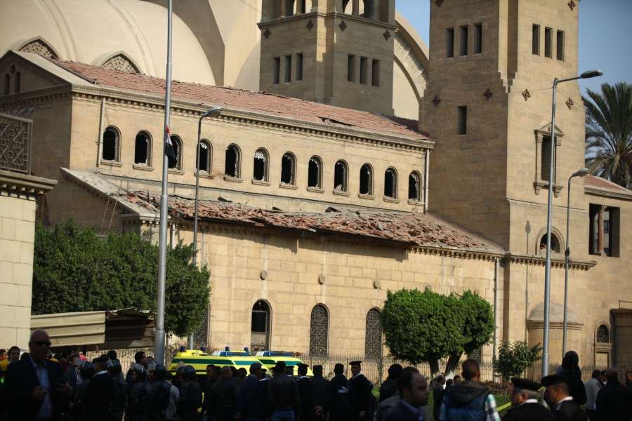 CAIRO, Dec. 11, 2016 (Xinhua) -- People gather at the explosion site in Cairo, Egypt on Dec. 11, 2016. At least 25 people were killed and 49 others injured on Sunday in an explosion at the Coptic Cathedral in Abbasiya's neighborhood of Cairo, Egypt's Ministry of Health said in a statement. (Xinhua/Ahmed Gomaa/IANS)