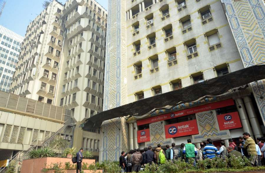 New Delhi: Kotak Mahindra Bank at Kasturba Gandhi Marg where Income Tax officials are carrying out investigation in New Delhi on Dec 23, 2016. (Photo: IANS)