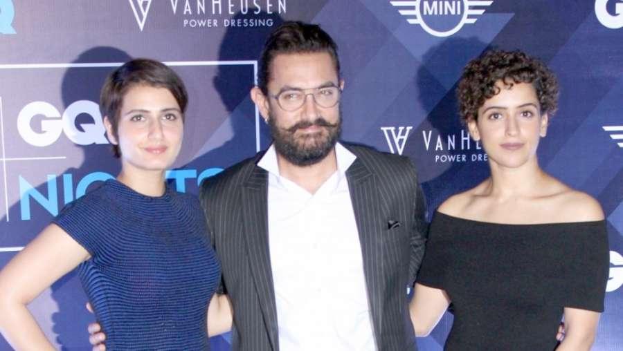 Mumbai: Actors Fatima Sana Shaikh, Aamir Khan and Sanya Malhotra during the 2nd edition of Van Heusen + GQ Fashion Nights, in Mumbai, on Dec 4, 2016. (Photo: IANS)
