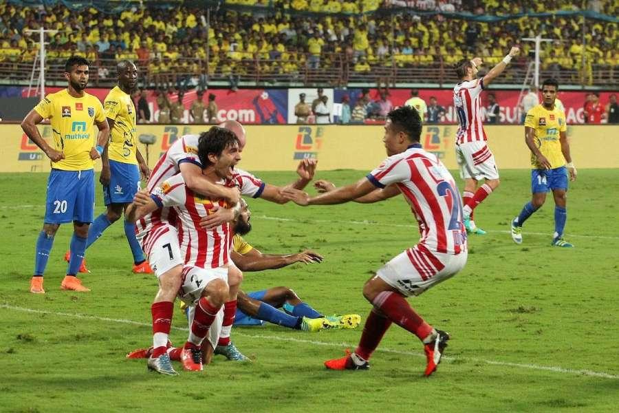 Kochi: Players in action during ISL final between Kerala Blasters and Atletico de Kolkata in Kochi, on Dec 18, 2016. (Photo: IANS)