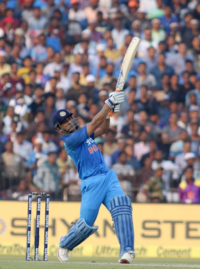 Cuttack: MS Dhoni of India plays a shot during the Second One Day International cricket match between India and England at Barabati Stadium in Cuttack on Jan 19, 2017. (Photo: Surjeet Yadav/IANS) by .