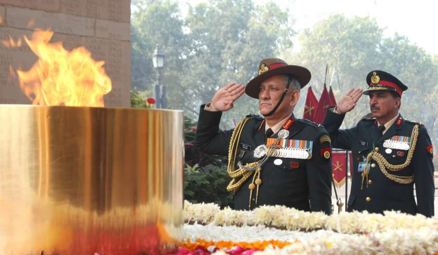 New Delhi: Chief of Army Staff General Bipin Rawat pays homage at Amar Jawan Jyoti, India Gate, in New Delhi on Jan 1, 2017. (Photo: IANS/PIB)