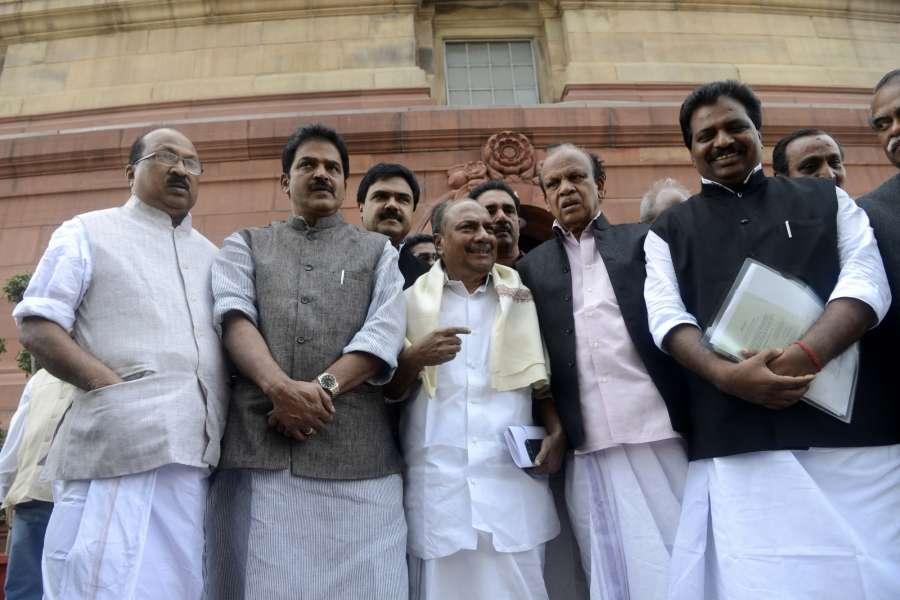 New Delhi: Congress leader and Rajya Sabha member, AK Antony with other members at Parliament House on Nov. 18, 2016. (Photo: IANS)