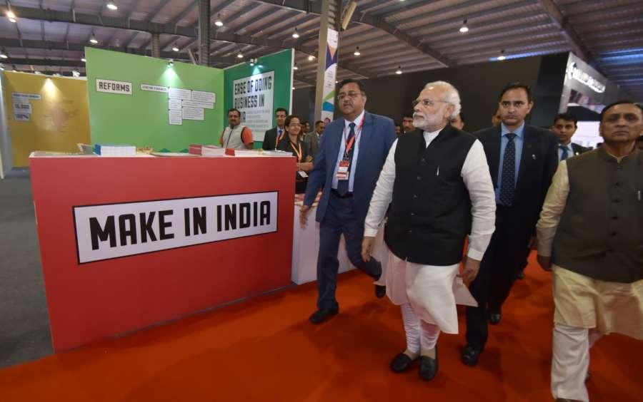 Gandhinagar: Prime Minister Narendra Modi visits the Global Trade Show, on the sidelines of the Vibrant Gujarat 2017, at Exhibition Ground, in Gandhinagar on Jan 9, 2017. (Photo: IANS/PIB)