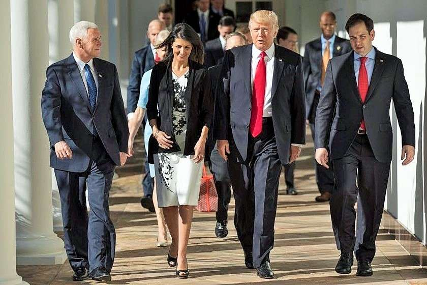 Washington: Nikki Haley who was sworn-in on Jan. 25, 2017, as the cabinet rank ambassador to the United Nations. After the ceremony she met US President Donald Trump. Haley is flanked on the left by Vice President Mike Pence, who administered the oath of office, and on the right by Trump. (Photo credit: Haley) by .