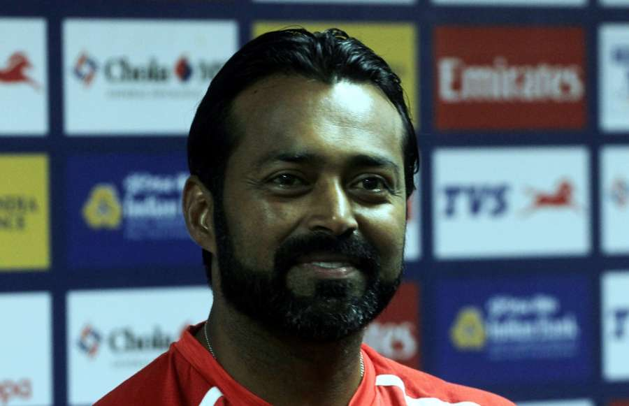 Chennai: Indian tennis player Leander Paes talks to press during ATP Chennai Open in Chennai on Jan 1, 2016. (Photo: IANS)