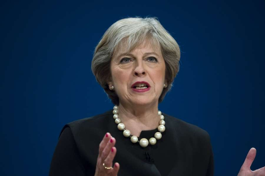BIRMINGHAM, Oct. 2, 2016 (Xinhua) -- British Prime Minister Theresa May speaks on the first day of the Conservative Party Conference at the International Convention Centre in Birmingham, Britain on Oct. 2, 2016. British Prime Minister Theresa May opened the Conservative Conference in Birmingham Sunday by telling MPs and opponents of Brexit that they will not stand in the way of Britain leaving the European Union (EU). (Xinhua/IANS)