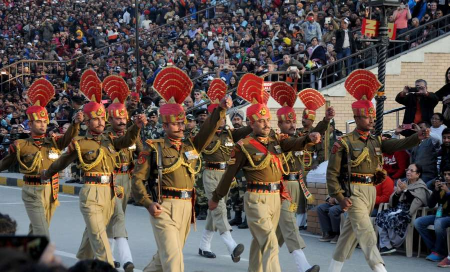 Amritsar: BSF soldiers during retreat ceremony end of the year 2015 India-Pakistan Attari-Wagah Border on Dec 31, 2015. (Photo: IANS)