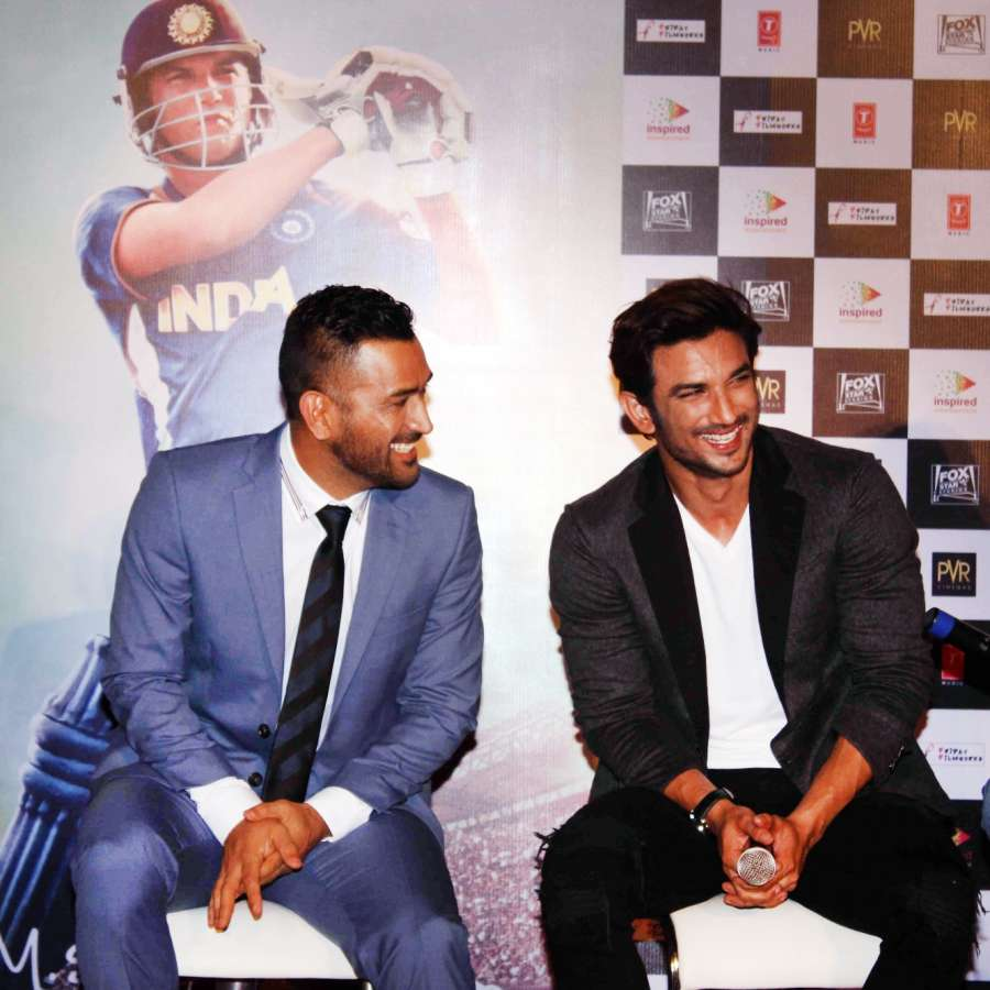 Indian One day and T20 format cricket captain MS Dhoni and actor Sushant Singh Rajput during the trailer launch of film M.S. Dhoni: The Untold Story in Mumbai on August 11, 2016. (Photo: IANS)