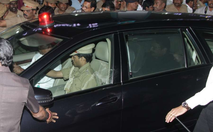 Chennai: Maharashtra Governor C. Vidyasagar Rao, who has additional charge of Tamil Nadu arrives at Apollo Hospital where Chief Minister J Jayalalithaa is admitted in Chennai on Dec 5, 2016. Jayalalithaa suffered a cardiac arrest on Sunday evening and is being treated by a team of specialists at the Hospital. (Photo: IANS) by .