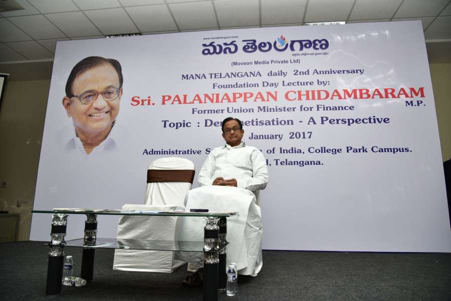 Hyderabad: Congress leader P. Chidambaram addresses during a programme in Hyderabad, on Jan 29, 2017. (Photo: IANS) by .