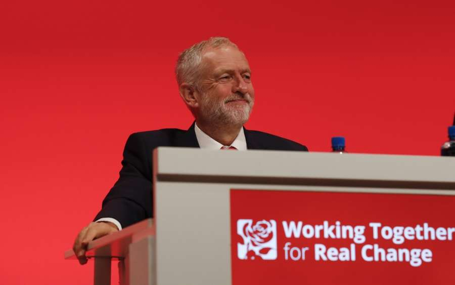 LIVERPOOL, Sept. 25, 2016 (Xinhua) -- Leader of Britain's main opposition Labour Party Jeremy Corbyn attends the Labour Party Annual Conference in Liverpool, Britain, on Sept. 25, 2016. The Labour Party Annual Conference is held in Liverpool from Sept. 25 to Sept. 28. (Xinhua/Han Yan/IANS) by .