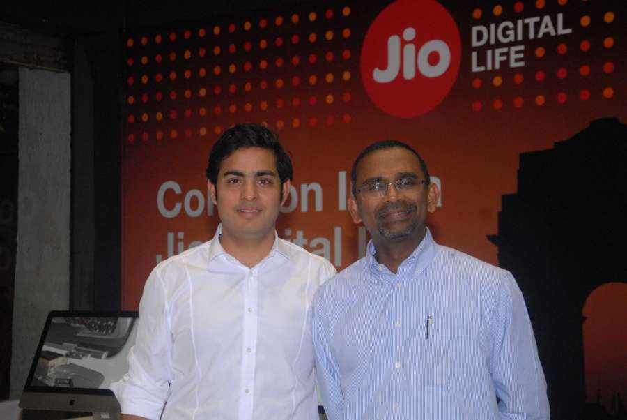 Mumbai: Industrialist Mukesh Ambani's son, Akash Ambani with Reliance Jio President Mathew Oommen at the launch of i-Phone 7 with Relience JIO subscription in Mumbai, on Oct 7, 2016. (Photo: IANS) by .