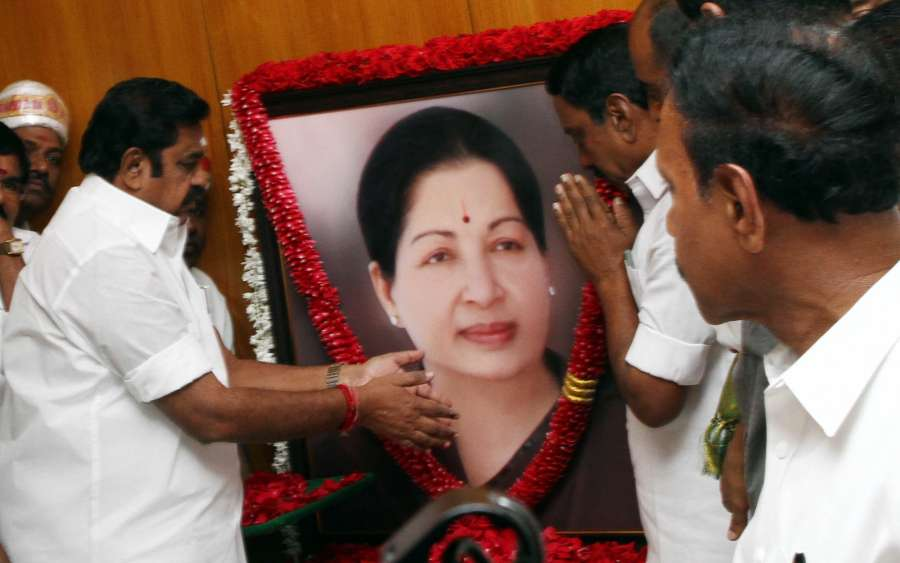 Chennai: Tamil Nadu Chief Minister K. Palaniswami pays tribute to Jayalalithaa before assuming office in Chennai on Feb 20, 2017. (Photo: IANS) by .