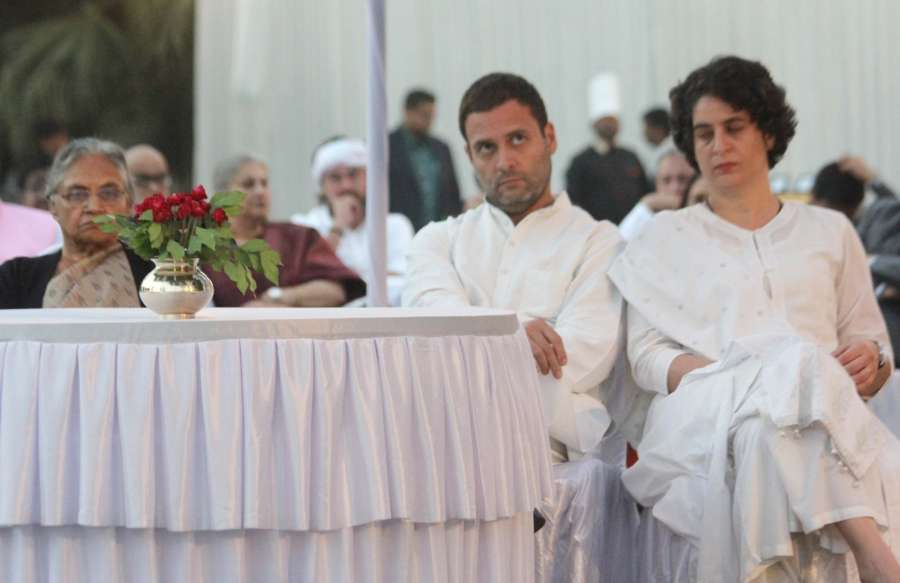 Allahabad: Congress vice-president Rahul Gandhi, Priyanka Gandhi Vadra and partys Chief Ministerial candidate in Uttar Pradesh Sheila Dikshit during the inauguration of an exhibition to mark the birth centenary of former Prime Minister Indira Gandhi at Swaraj Bhawan in Allahabad on Nov 21, 2016. (Photo: IANS) by .