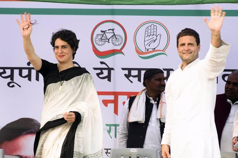 Raebareli:Congress Vice President Rahul Gandhi and his sister Priyanka Gandhi Vadra during a rally in Raebareli, Uttar Pradesh on Feb 17, 2017. (Photo: IANS) by .