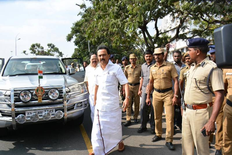 Chennai: DMK leader M. K. Stalin arrives to pay tribute to well-known actor, playwright and political analyst Cho Ramaswamy, who breathed his last in Chennai on Dec 7, 2016. (Photo: IANS) by .