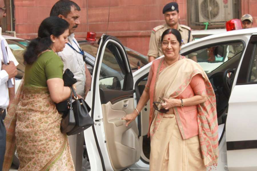 "New Delhi: External Affairs Minister Sushma Swaraj arrives to attend an All Party meeting at North Block in New Delhi on Sept 29, 2016. India caused ""significant casualties"" on terrorists and those who support them during surgical strikes across the India-Pakistan border late on Wednesday. (Photo: Amlan Paliwal/IANS) by ."